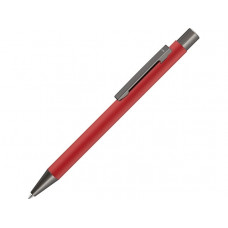 Ручка шариковая UMA «STRAIGHT GUM» soft-touch, с зеркальной гравировкой, красный